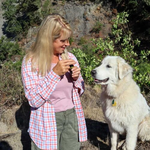 Owner Danette and Her Dog Lilly Using Love Your Pets CBD Tincture
