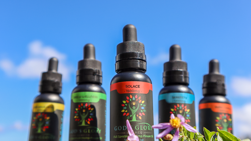 A Group Photo of Our CBD Tincture Products Focusing on Our Solace Formula